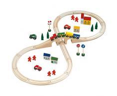 Mertens Bino 82242 - Set ferrovia in legno, 46 pezzi