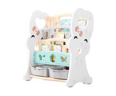 ZXvbyuff Librerie bambini Children bagagli Rack, asilo plastica Libro Rack giocattolo Scaffale Multicolor Ludoteca Bookshelf Organizzatore 4-Tier con 2 scatole di immagazzinaggio