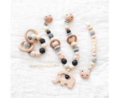 Mamimami Home 3PC Bed passeggino giocattolo bambino infantile attività educativa del giocattolo della lettere legno clip ciuccio giochi neonatiauto con squilla Bell