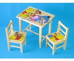 Set in legno tavolino con 2 sedie per cameretta bambini. M1. Ottima idea regalo.Completo in pino con disegno a mano.