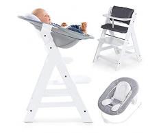 Hauck Alpha Plus Newborn - Seggiolone Pappa in Legno, evolutivo dalla Nascita - Con Sdraietta neonato, Riduttore, Cuscino seduta, Altezza regolabile - Bianco