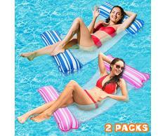 lenbest 2 Pack Amaca Gonfiabile, Amaca di Acqua Galleggiante Gonfiabile Pieghevole Letto Lounge Materassino Sedia Sdraio da Mare Piscina Spiaggia Giardino per Adulti Bambini (Rosa & Blu)