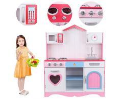 MuGuang Cucina per bambini Cucina Giocattolo per Bambini in Legno Rosa Kitchen Toys Role Play per 3-9 Età