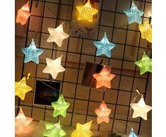 LEDMOMO 3M 20 LED Stringhe luminose a stelle colorate alimentate a batteria luci natalizie per il patio di Natale Camera da letto per esterni all'aperto Principessa dell'interno del castello Gioca tende (bianco caldo)