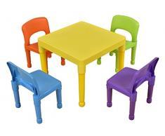 Liberty House Toys-Tavolo per bambini con 4 sedie, plastica, colore: multicolore