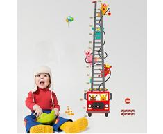 Ufengke® Fumetto Camion Dei Pompieri Pompieri Adesivi Murali Con Metri, Camera Dei Bambini Vivai Adesivi Da Parete Removibili Stickers Murali Decorazione Murale