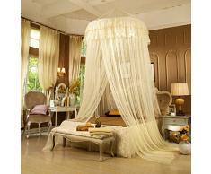 Sfghouse elegante principessa pizzo Dome zanzariera rete letto a baldacchino tenda Cream