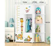 Organizer Cameretta per bambini Cute Pattern Combinazione portatile Armadio, ideale per riporre i vestiti Cube, libri, giocattoli, armadi che possono essere utilizzati per misurare laltezza dei bambi