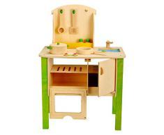 Idena 4100071 - Cucina giocattolo in legno con accessori inclusi, circa 54 x 33,4 x 79,5 cm