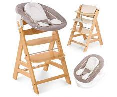 Hauck Alpha Plus Newborn - Seggiolone Pappa in Legno, evolutivo dalla Nascita - Con Sdraietta neonato, Riduttore, Cuscino seduta, Altezza regolabile - Legno