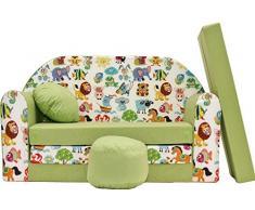 PRO COSMO Z5, Divano Letto per Bambini con Pouf/poggiapiedi/Cuscino, in Tessuto Verde, 168 x 98 x 60 cm