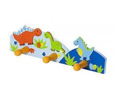 Mousehouse Gifts Attaccapanni da Muro a Tre Ganci, appendi Ganci a Parete Abiti a Tema con Dinosauri Colorati per Camera da Letto o Stanza dei Bambini
