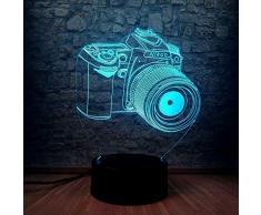 Luce Notturna 3D Novità Macchina Fotografica Lampada A Led 3D Cambiamento Di Colore Appassionati Di Fotografia Regalo Souvenir Mostra Comodino Scrivania Lampada Da Tavolo Arredamento Camera Da Letto