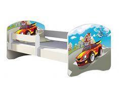 Letto per bambino Cameretta per bambino con materasso Cassetto ACMA II (03 Macchina sportiva, 140x70)
