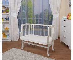 WALDIN - Lettino culla - dotazione completa - bianco laccato - in 16 colori,Superficie d'appoggio EXTRA lung. 90 x larg. 55 cm,bianco/bianco