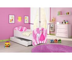 Letto per bambino Cameretta per bambino con materasso Cassetto ACMA I (08 La principessa con il pony, 180x80 + Cassetto)