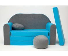Pro B1 - Divano letto con pouf poggiapiedi e cuscino per bambini