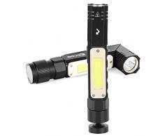 Torcia LED Ricaricabile 1800mAh, Lampada da Lavoro 1000LM Ultra Luminoso, Lampada Portatile Officina 5 Modalità, Torcia da Lavoro Impermeabile con Base magnetica per Riparazione Auto Garage Emergenza