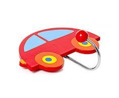 Attaccapanni e appendini gancio da parate di colore rosso in legno per vestiti a forma di macchina per bambini per la cameretta o la stanza da letto di un bambino