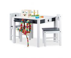 Relaxdays Set Tavolino con 2 Sedie in Legno STAR, Tavolo e Sedioline, per Bambini & Bambine,con Stella, bianco-grigio