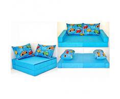 Divano per bambini letto per bambini mobile Collage 3in1 (blu macchina B11)