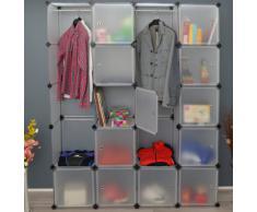 Ts-Ideen - Armadio guardaroba da 150 x 187 cm, con 12 scomparti e 2 sbarre appendiabiti, colore: Bianco trasparente
