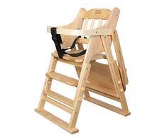High chair Seggiolino per Bambini, seggiolone in Legno massello, Passeggino, seggiolone per Bambini, Pieghevole (Colore : B)