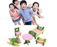 Simulazione Mobili Tavolo Bambola Giocattolo Puzzle di legno Giocattoli Educativi Pretend Playset Simula casa Giocattoli per bambini (Baby's Room, 5Pcs)