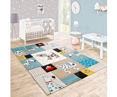 Tappeto Per Bambini Camera Dei Bambini Taglio Sagomato Cani Mondo Beige Blu Colori Pastello, Dimensione:80x150 cm