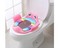 Harpily Vasino per Bimbi Bimbo Frog Riduttore WC per Bambini con Maniglie Ergonomico Riduttore con Braccioli e Imbottito (Rosa)