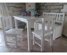 Best of JAM® – Set soggiorno 1 x tavolo per bambini 2 x bambini sedie, 1 x cassapanca con freno coperchio (bianco) in legno massiccio nuovo & Confezione originale