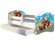 Letto per bambino Cameretta per bambino con materasso Cassetto ACMA II (03 Macchina sportiva, 140x70 + Cassetto)