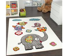 Tappeto Per Bambini Con Elefante Gufi Fiori Amici Animali Crema Rosso Grigio Blu, Grösse:160x220 cm