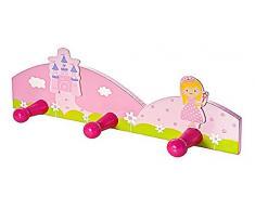 Appendiabiti e appendini abiti triplo da muro per bambini con principessa rosa Gancio da parete per la cameretta o la stanza da letto di bambine