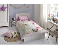 Good Morning Kids, Cavallo Pink biancheria da letto rosa, Biancheria da letto per bambini, 135 x 200 cm