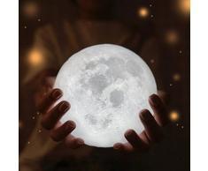 Lampada lunare KOLY LED USB 3D Luna Magica Luce di Notte Luce Luna Tavolo Tavolo Regalo della lampada della luna (Bianca C)
