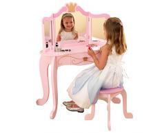 KidKraft 76123 Toeletta con Specchio e Sgabello in Legno Stile Principessa, Mobili per Camera da Letto e Sala Giochi per Bambini
