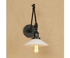 ACZZ Lampada da parete a braccio lungo vintage girevole regolabile Sconce Retro lampada da parete a muro in ferro battuto industriale Edison E27 Lanterna a scale pieghevole a casa macchina da letto l