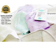 Lusso Baby asciugamano con cappuccio e bambù organico Washcloths set regalo per neonati a bambini – extra morbido e spesso per maggiore comfort di babies-nest (TM) UK Company