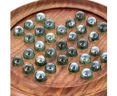 Shalinindia- Solitario Giochi Tavolo in Legno con Vetro Marmi