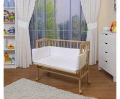 WALDIN Baby ,Lettino culla,altezza regolabile,paracolpi e materasso,in 8 varianti, naturale,bianco