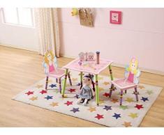 WODENY - Set di mobili per Bambini con Tavolo e sedie, Realizzato a Mano, per Scrivere, Scrivere, Scrivere, sedili, con Disegni di Cartoni Animati, Due sedie Incluse per Bambini e Bambine Rosa