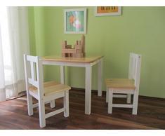 Set sedie e tavolo per bambini, colore bianco, in legno massiccio