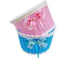 Westeng, 1 cestino fiorito da bicicletta per bambini, modello vimini in plastica. posizionamento anteriore , Pink 1PC