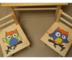 KML - Seggioline e tavolino da bambini, in legno di pino ecologico