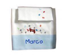 ZIGOZAGO - Set per culla o lettinoPECORELLE in piquet di cotone in 3 pezzi con nome personalizzato. Federa, lenzuolo e coprimaterasso con elastico