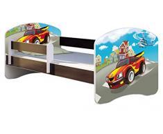 ACMA Letto per Bambino Cameretta per Bambino con Materasso Cassetto II WENGE (03 Macchina sportiva, 140x70 cm)