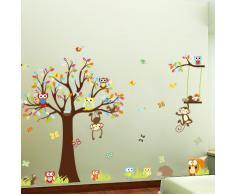 ufengke® Fumetto Gufi Cute Scimmie Scoiattolo Bellissimo Albero Adesivi Murali, Camera dei Bambini Vivai Adesivi da Parete Removibili/Stickers Murali/Decorazione Murale, Set Di 4 Fogli