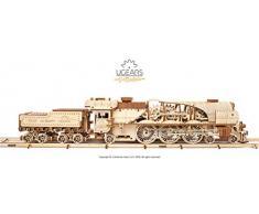 UGEARS Modello di Treno in Legno 3D - Locomotiva, Tender, Binari - Puzzle per Adulti, Modello Meccanico, Rompicapo da Costruire, Gioco Educativo per Bambini, Ecologico e Divertente, da Collezionare