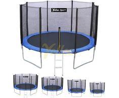 YellooSport Trampolino Tappeto Elastico Giardino Salto Bambini Diametro 185 250 310 370 cm Certificato TUV GS alta qualità con giunti a T (Diametro, 250 cm)